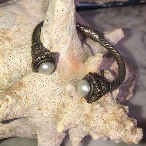 925 14k rope twisted Midas pearl bracelet